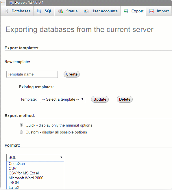 choose the 'SQL' option for the export