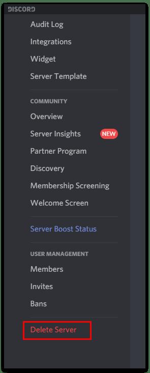 Delete Server
